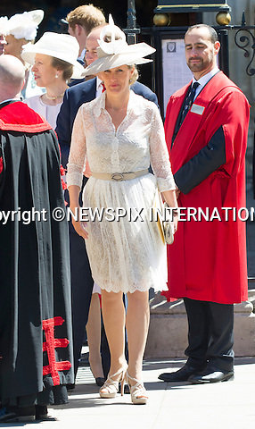 SOPHIE, COUNTESS OF WESSEX<br /> joined other members of the Royal Family for  A Service to Celebrate the Queen's 60th Anniversary of the Coronation Service at Westminster Abbey, London_04/06/2013Members of the Royal Family attending the Service included The Prince of Wales and The Duchess of Cornwall, The Duke and Duchess of Cambridge, Prince Henry of Wales, The Duke of York and Princesses Beatrice and Eugenie, The Earl and Countess of Wessex and The Lady Louise Mountbatten-Windsor, The Princess Royal, Vice Admiral Sir Tim Laurence, Peter Phillips and Autumn (Kelly) Phillips, Zara (Phillips) Tindall and Mike Tindall, The Duke and Duchess of Gloucester, The Duke and Duchess of Kent, Prince and Princess Michael of Kent<br /> Mandatory Credit Photo: &copy;Francis Dias/NEWSPIX INTERNATIONAL<br /> <br /> **ALL FEES PAYABLE TO: &quot;NEWSPIX INTERNATIONAL&quot;**<br /> <br /> IMMEDIATE CONFIRMATION OF USAGE REQUIRED:<br /> Newspix International, 31 Chinnery Hill, Bishop's Stortford, ENGLAND CM23 3PS<br /> Tel:+441279 324672  ; Fax: +441279656877<br /> Mobile:  07775681153<br /> e-mail: info@newspixinternational.co.uk