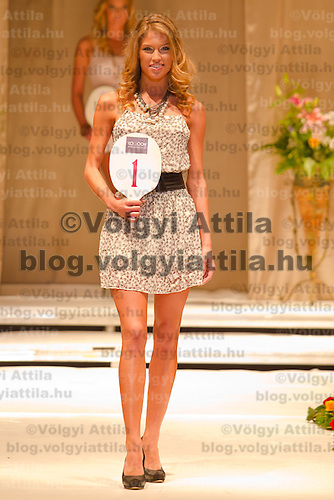 Dora Gregori attends the Miss Hungary 2010 beauty contest held in Budapest, Hungary on November 29, 2010. ATTILA VOLGYI