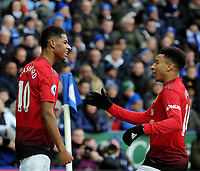 Manchester United's Marcus Rashford celebrates scoring his side's first goal with team mate Manchester United's Jesse Lingard<br /> <br /> Photographer Hannah Fountain/CameraSport<br /> <br /> The Premier League - Leicester City v Manchester United - Sunday 3rd February 2019 - King Power Stadium - Leicester<br /> <br /> World Copyright © 2019 CameraSport. All rights reserved. 43 Linden Ave. Countesthorpe. Leicester. England. LE8 5PG - Tel: +44 (0) 116 277 4147 - admin@camerasport.com - www.camerasport.com