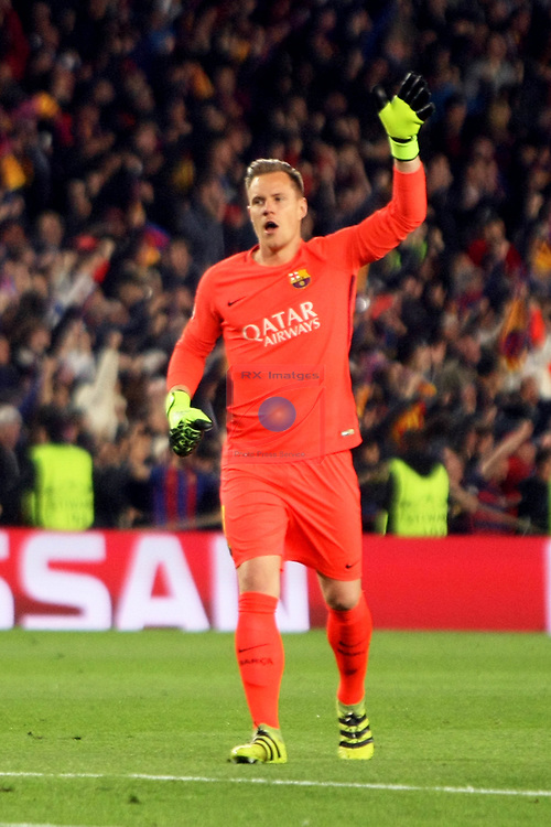 UEFA Champions League 2016/2017.<br /> Round of 16 2nd leg<br /> FC Barcelona vs Paris Saint-Germain: 6-1.<br /> Marc Andre Ter Stegen.