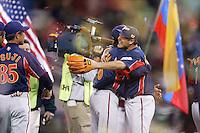 Daisuke Matsuzaka and Akinori Otsuka of Japan during World Baseball Championship at Petco Park in San Diego,California on March 20, 2006. Photo by Larry Goren/Four Seam Images