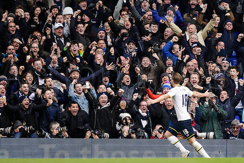 07.02.2015.  London, England. Barclays Premier League. Tottenham Hotspur versus Arsenal.  Tottenham Hotspur fans go wild after Harry Kane levels the score at 1-1