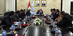 Palestinian Prime Minister Mohammad Ishtayeh, meets with a delegation from the Land Authority and the Land and Water Settlement Commission, in the West Bank city of Ramallah, April 21, 2019. Photo by Prime Minister Office