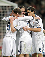 Real Madrid's Fabio Coentrao celebrates with Gonzalo Higuain, Sami Khedira and Xabi Alonso during King's Cup match. January 15, 2013. (ALTERPHOTOS/Alvaro Hernandez) /NortePhoto