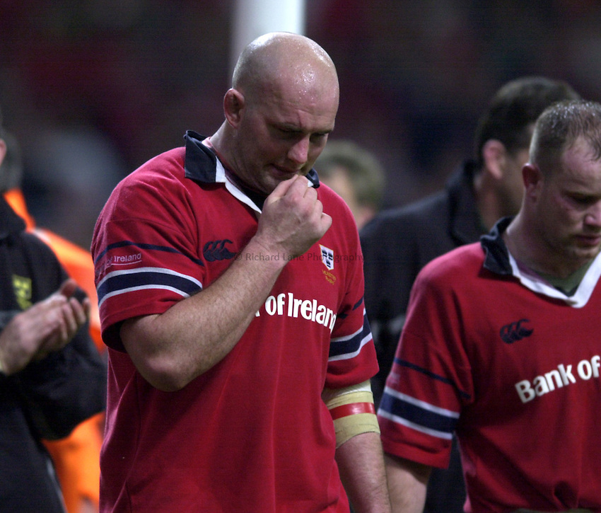 Photo: Richard Lane..Leicester Tigers v Munster. Heineken Cup Final at the Millennium Stadium. 25/05/2004..John Hayes shows the pain of defeat.