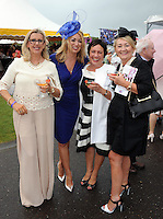 Pictured enjoying the summer fayre on the Ross Hotel / Lane Bar Champagne &amp; Cocktail Marquee at Killarney Races ladies Day on Thursday were from left, Paddie Keogh, Sandra Fitzmaurice, Trish McEnery and Vera O'Leary, Killarney.<br /> Picture by Don MacMonagle<br /> <br /> <br /> PR Photo from Ross Hotel