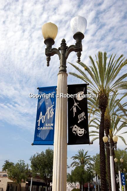 Banners for San Gabriel arts on lightpost in San Gabriel, California