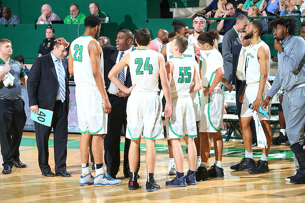 DENTON, TX - FEBRUARY: 23 Mean Green Mens Basketball v Louisiana Tech at Super Pit - North Texas Coliseum in Denton on February 23, 2016 in Denton, Texas. (Photo by Rick Yeatts)