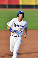 Cody Bellinger (35) of the Ogden Raptors rounds the bases after hitting a home run against the Great Falls Voyagers on July 18, 2014 at Lindquist Field in Ogden, Utah. (Stephen Smith/Four Seam Images)