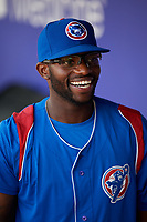 South Bend Cubs second baseman Delvin Zinn (20) in the dugout before a game against the Kane County Cougars on July 21, 2018 at Northwestern Medicine Field in Geneva, Illinois.  South Bend defeated Kane County 4-2.  (Mike Janes/Four Seam Images)