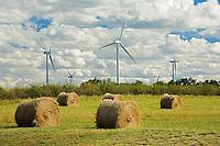 Wind turbines and bales<br /> Rosenhof<br /> Saskatchewan<br /> Canada