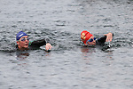Siobhan Byrne and Sue McKinney at the Green Buoy 1KM Swim in Clogherhead....(Photo credit should read Jenny Matthews/NEWSFILE)...