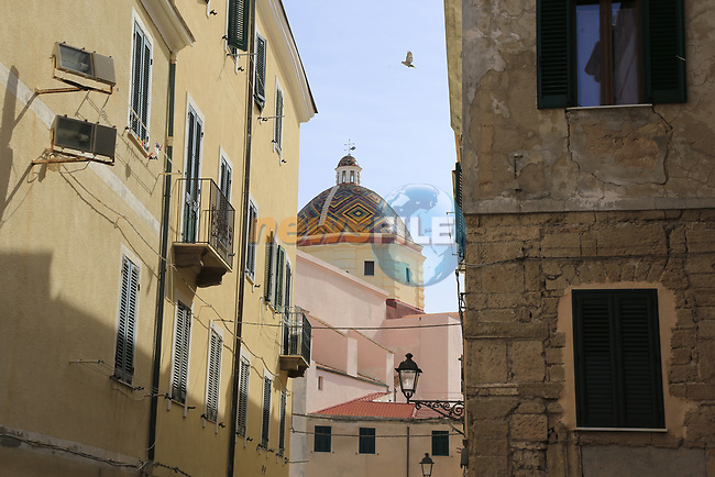 Alghero town before the start of Stage 1 of the 100th edition of the Giro d'Italia 2017, running 206km from Alghero to Olbia, Sardinia, Italy. 4th May 2017.<br /> Picture: Eoin Clarke   Cyclefile<br /> <br /> <br /> All photos usage must carry mandatory copyright credit (&copy; Cyclefile   Eoin Clarke)