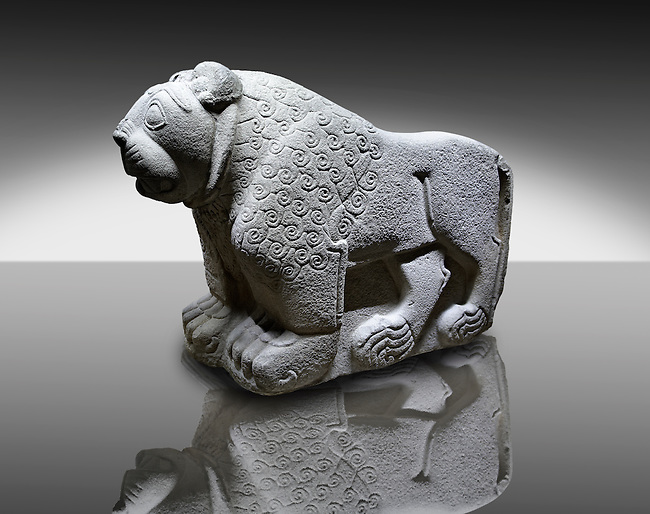 Picture & image of a Hittite Sculpture of a Lion Fron the Gate To Aslantepe, Malatya Province Turkey. An Ankara Museum of Anatolian Civilizations exhibit.