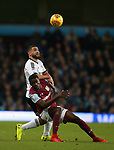Cameron Carter-Vickers of Sheffield Utd and Albert Adomah of Aston Villa during the Championship match at Villa Park Stadium, Birmingham. Picture date 23rd December 2017. Picture credit should read: Simon Bellis/Sportimage