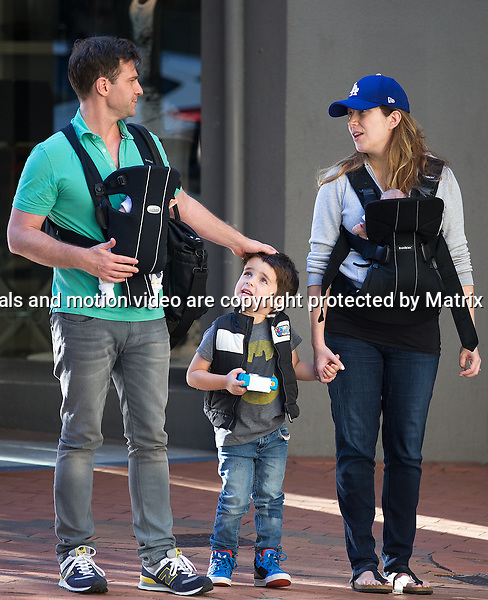 29 JANUARY 2015 SYDNEY AUSTRALIA<br /> <br /> EXCLUSIVE PICTURES<br /> <br /> David Campbell pictured with his wife Lisa, first child Leo and one week old baby twins Billy (William) and Betty (Elizabeth) going for dinner at The Fish Cafe Potts Point. This is the first public appearance of the twins - and young Leo was ready to snap any Kodak moments for his younger siblings with his little camera. <br /> <br /> <br /> *No web use without clearance*.<br /> MUST CONTACT PRIOR TO USE <br /> +61 2 9211-1088. <br /> <br /> Matrix Media Group AU .Note: All editorial images subject to the following: For editorial use only. Additional clearance required for commercial, wireless, internet or promotional use.Images may not be altered or modified. Matrix Media Group AU makes no representations or warranties regarding names, trademarks or logos appearing in the images.