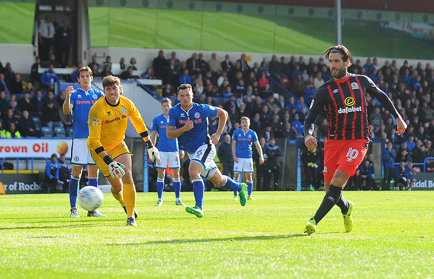Blackburn Rovers' Danny Graham scores his side's third goal <br /> <br /> Photographer Kevin Barnes/CameraSport<br /> <br /> The EFL Sky Bet League One - Rochdale v Blackburn Rovers - Saturday 9th September 2017 - Spotland Stadium - Rochdale<br /> <br /> World Copyright &copy; 2017 CameraSport. All rights reserved. 43 Linden Ave. Countesthorpe. Leicester. England. LE8 5PG - Tel: +44 (0) 116 277 4147 - admin@camerasport.com - www.camerasport.com