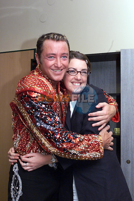 Michael Flatley performs to 100,000 people in the nepstadium the Hungarian national stadium in Budapest..Pictured with News of the Worlds Karen McManus after the performance.Picture PIP/Newsfile.No REPO FEE