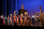 The cast during the Curtain Call for 20th Anniversary Performance of 'The Lion King' on Broadway at The Minskoff Theatre on November e, 2017 in New York City.