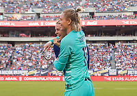 PHILADELPHIA, PA - AUGUST 29: Kelley O'Hara #5 and Ashlyn Harris #18 of the United States embrace before kickoff prior to a game between Portugal and the USWNT at Lincoln Financial Field on August 29, 2019 in Philadelphia, PA.