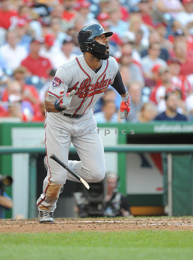 Atlanta Braves Jason Heyward (22) during a game against the Washington Nationals on September 10, 2014 at Nationals Park in Washington DC. The Braves beat the Nationals 6-2.