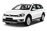 2015 Volkswagen Golf Alltrack 5 Door Wagon Angular Front stock photos of front three quarter view