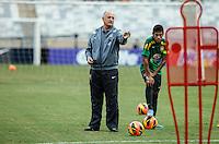 BELO HORIZONTE, MINAS GERAIS, 22 DE ABRIL 2013 - TREINO SELEÇÃO BRASILEIRA DE FUTEBOL - Neymar (D)  jogador e o treinador Luiz Felipe Scolari da seleção brasileira de futebol durante sessão de treinamento na Minas Arena (Mineirão), na tarde desta terça-feira, 22. Amanhã o Brasil enfrenta o Chile no mesmo local. FOTO: WILLIAM VOLCOV / BRAZIL PHOTO PRESS.
