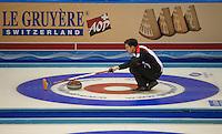 Glasgow. SCOTLAND. Swiss, &quot;Skip&quot;, Peter DE CRUZ, during the  &quot;Round Robin&quot; Games. Le Gruy&egrave;re European Curling Championships. 2016 Venue, Braehead  Scotland<br /> Monday  21/11/2016<br /> <br /> [Mandatory Credit; Peter Spurrier/Intersport-images]