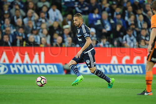 30th April 2017, AAMI Park, Melbourne, Australia; Hyundai A-League Football; Melbourne Victory versus Brisbane Roar FC; James Triosi of the Melbourne Victory runs with the ball during the second half