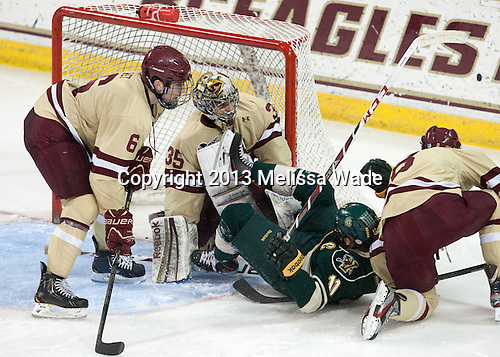 Patrick Wey (BC - 6), Parker Milner (BC - 35), H.T. Lenz (UVM - 11), Travis Jeke (BC - 8) - The Boston College Eagles defeated the visiting University of Vermont Catamounts 4-2 (EN) in the first game of their best of three Hockey East quarterfinal matchup on Friday, March 15, 2013, at Kelley Rink in Conte Forum in Chestnut Hill, Massachusetts.