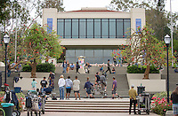 A crew films on the steps outside AGC at Occidental College, Los Angeles, Calif., May 24, 2012. (Photo by Marc Campos, Occidental College Photographer)