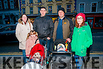 Listowel Xmas Lights Switch On: Attending the switching the turning on of the Christmas lights in Listowel on Sunday evening were Louise, Liam Orla & Jamie Somers & Larry, Carol & Oran Guiney.