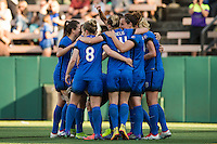 Seattle, Washington - Saturday, July 2nd, 2016: Seattle Reign FC celebrate the first goal of the match during a regular season National Women's Soccer League (NWSL) game between the Seattle Reign FC and the Boston Breakers at Memorial Stadium. Seattle won 2-0.