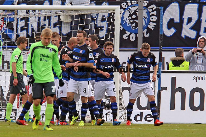 Torjubel FSV Frankfurt beim 1:0 - FSV Frankfurt vs. TSV 1860 München Frankfurter Volksbank Stadion