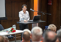 """Professor Emeritus Jane Jaquette talks about """"Latin America in the 21st Century: Old Problems, New Directions"""" during Alumni Reunion Weekend, Saturday, June 21, 2014. (Photo by Marc Campos, Occidental College Photographer)"""