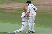 Simon Harmer is lifted off the floor having taken the wicket of Dominic Sibley during Warwickshire CCC vs Essex CCC, Specsavers County Championship Division 1 Cricket at Edgbaston Stadium on 10th September 2019
