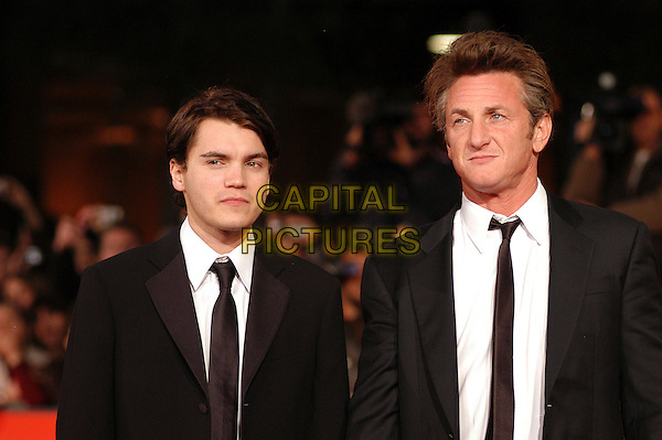 "EMILE HIRSCH & SEAN PENN .Red carpet arrivals for the film ""Into The Wild"" during the 2nd Annual Rome Film Festival, Rome, Italy..October 24th, 2007.half length black suit jacket .CAP/CAV.©Luca Cavallari/Capital Pictures."