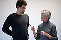 """London, UK. 11.11.11. Rehearsals take place for """"Howl's Moving Castle"""", the Southwark Playhouse Christmas production. Cast is: Daniel Ings, Kristin McGuire and Susan Sheridan. Written by Mike Sizemore. Director and designer is Davy McGuire. Picture shows: Daniel Ings (as Howl) and Susan Sheridan (as Old Sophie). Mandatory photo credit: Jane Hobson."""