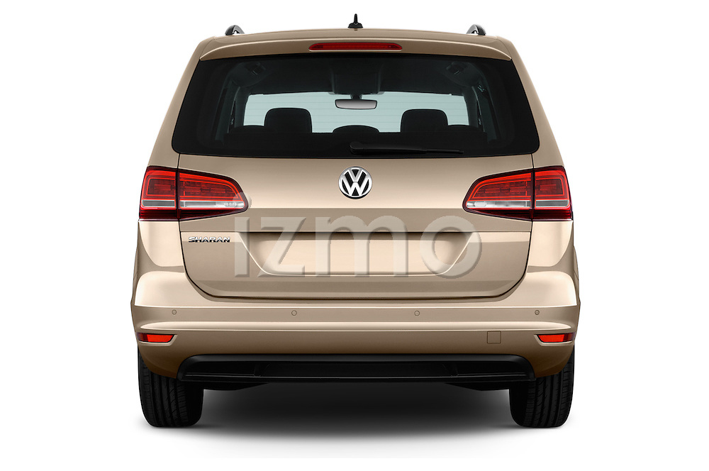 Straight rear view of 2016 Volkswagen Sharan Confortline 5 Door Minivan Rear View  stock images