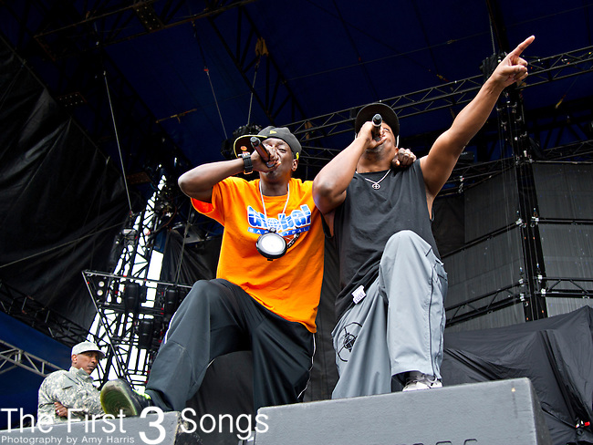 Flavor Flav (born William Drayton, Jr.) and Chuck D (born Carlton Douglas Ridenhour) perform during the The Beale Street Music Festival in Memphis, Tennessee.