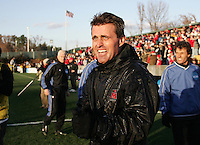 Maryland head coach Sasho Cirovski reacts after having a bucket of water dumped on him by his team. The University of Maryland Terrapins defeated the University of New Mexico Lobos 1-0 in the Men's College Cup Championship game at SAS Stadium in Cary, NC, Friday, December 11, 2005.