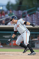 Aramis Garcia (21) of the San Jose Giants bats during a game against the Inland Empire 66ers at San Manuel Stadium on August 26, 2015 in San Bernardino, California. San Jose defeated Inland Empire, 8-1. (Larry Goren/Four Seam Images)