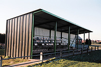 The main stand at Alveston FC Football Ground, Home Guard Club, Warwickshire, pictured on 1st January 1995