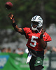Teddy Bridgewater #5, New York Jets quarterback, throws a pass during team practice at the Atlantic Health Jets Training Center in Florham Park, NJ on Saturday, July 28, 2018.
