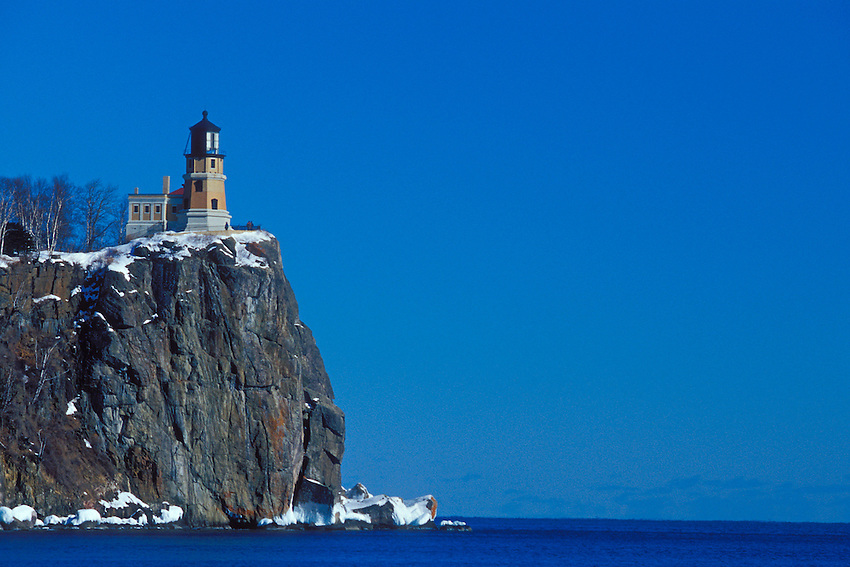 Split Rock Lighthouse on Lake Superior in winter at Split Rock Lighthouse State Park near Two Harbors Minnesota.