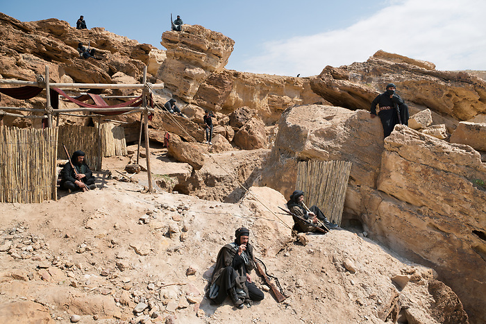 Shooting of the series &ldquo;Dhebbah Ighleis&rdquo; (&ldquo;Ighleis the killer&rdquo;) Jordan, March 2017 (Arab Telemedia). The story is inspired by a legendary character from the Bedouin mythology: Ighleis, a bloodthirsty killer is the hero of the series. In this scene, he and the other fighters are resting on the camp site in war times. <br /> <br /> Tournage de la s&eacute;rie &quot;Dhebbah Ighleis&quot; (&quot;Ighleis le tueur&quot;) Jordanie, Mars 2017 (Arab Telemedia). La s&eacute;rie met en sc&egrave;ne un personnage l&eacute;gendaire de la mythologie b&eacute;douine: Ighleis, un guerrier sanguinaire, est ici le h&eacute;ro. Dans cette sc&egrave;ne, lui et d'autres guerriers font escale dans un campement en temps de guerre.