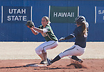 March 7, 2012:   Nevada Wolf Pack Chelsea Barilli is forced out as  Sacramento State Hornets second baseman Devin Caldwell catches the ball during their NCAA softball game played at Christina M. Hixson Softball Park on Wednesday in Reno, Nevada.