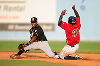 Tim Beckham Shortstop Bowling Green Hot Rods  (Tampa Bay Rays) makes a play at McCormick Field August 6, 2009 in Asheville, North Carolina. (Photo by Tony Farlow/Four Seam Images)