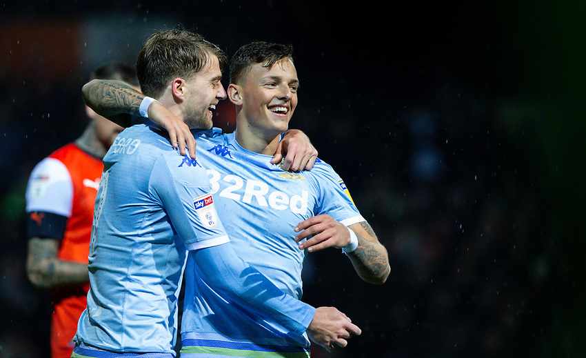 Leeds United's Patrick Bamford celebrates scoring the opening goal with Ben White<br /> <br /> Photographer Alex Dodd/CameraSport<br /> <br /> The EFL Sky Bet Championship - 191123 Luton Town v Leeds United - Saturday 23rd November 2019 - Kenilworth Road - Luton<br /> <br /> World Copyright © 2019 CameraSport. All rights reserved. 43 Linden Ave. Countesthorpe. Leicester. England. LE8 5PG - Tel: +44 (0) 116 277 4147 - admin@camerasport.com - www.camerasport.com