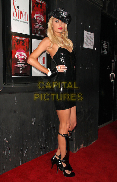 PARIS HILTON.Official Opening Night of The Pussycat Dolls Lounge at The Viper Room, West Hollywood, California, USA..November 23rd, 2008.full length black leather pvc shiny dress boots gladiator sandals shoes hat fingerless gloves hands on hips.CAP/ADM/KB.©Kevan Brooks/AdMedia/Capital Pictures.